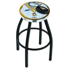 "25"" L8B2C - Black Wrinkle Pittsburgh Penguins Swivel Bar Stool with Chrome Accent Ring by Holland Bar Stool Company"