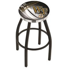 """25"""" L8B2C - Black Wrinkle Wake Forest Swivel Bar Stool with Chrome Accent Ring by Holland Bar Stool Company"""