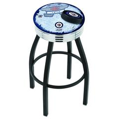 """25"""" L8B3C - Black Wrinkle Winnipeg Jets Swivel Bar Stool with Chrome 2.5"""" Ribbed Accent Ring by Holland Bar Stool Company"""