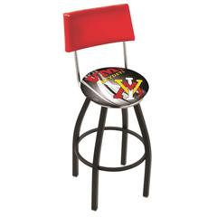 "30"" L8B4 - Black Wrinkle Virginia Military Institute Swivel Bar Stool with a Back by Holland Bar Stool Company"