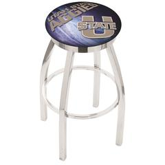 """30"""" L8C2C - Chrome Utah State Swivel Bar Stool with Accent Ring by Holland Bar Stool Company"""