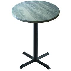 "42"" OD211 Black Table with 36"" Diameter Indoor/Outdoor Greystone Top"