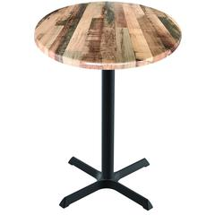 "Indoor/Outdoor 36"" Tall OD211 Black Table Base with 30"" x 30"" Foot and 36"" Diameter Indoor/Outdoor Rustic Top by the Holland Bar Stool Co."
