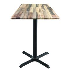 "42"" 211 Black Table with 30"" x 30"" Foot and 36"" x 36"" Square Indoor/Outdoor Rustic Top by Holland Bar Stool"