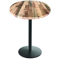 "42"" 214 Black Table with 22"" Diameter Foot and 36"" Diameter Indoor/Outdoor Rustic Top by Holland Bar Stool"