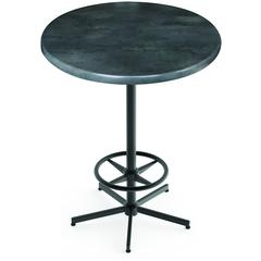 "Indoor/Outdoor 42"" Tall OD216 Black Table Base with 30"" Diameter Indoor/Outdoor Black Steel Top by the Holland Bar Stool Co."