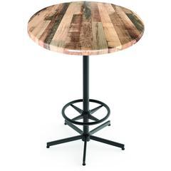 "Indoor/Outdoor 42"" Tall OD216 Black Table Base with 30"" Diameter Indoor/Outdoor Rustic Top by the Holland Bar Stool Co."