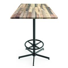 "Indoor/Outdoor 42"" Tall OD216 Black Table Base with 30"" x 30"" Square Indoor/Outdoor Rustic Top by the Holland Bar Stool Co."