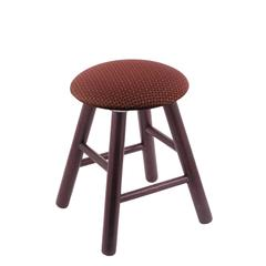 Oak Round Cushion Vanity Stool with Smooth Legs, Dark Cherry Finish, Axis Paprika Seat, and 360 Swivel