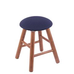 Oak Round Cushion Vanity Stool with Smooth Legs, Medium Finish, Axis Denim Seat, and 360 Swivel