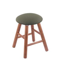 Oak Round Cushion Vanity Stool with Smooth Legs, Medium Finish, Axis Grove Seat, and 360 Swivel