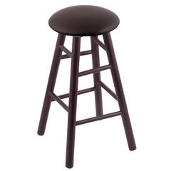 Maple Round Cushion Counter Stool with Smooth Legs, Dark Cherry Finish, Allante Espresso Seat, and 360 Swivel