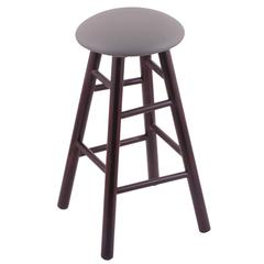 Holland Bar Stool Co. Maple Round Cushion Counter Stool with Smooth Legs, Dark Cherry Finish, Allante Medium Grey Seat, and 360 Swivel