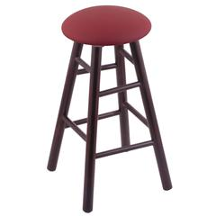Holland Bar Stool Co. Maple Round Cushion Bar Stool with Smooth Legs, Dark Cherry Finish, Allante Wine Seat, and 360 Swivel