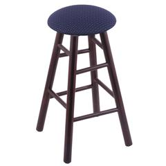 Maple Round Cushion Counter Stool with Smooth Legs, Dark Cherry Finish, Axis Denim Seat, and 360 Swivel