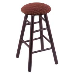 Maple Round Cushion Extra Tall Bar Stool with Smooth Legs, Dark Cherry Finish, Axis Paprika Seat, and 360 Swivel