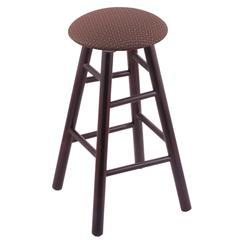 Maple Round Cushion Counter Stool with Smooth Legs, Dark Cherry Finish, Axis Willow Seat, and 360 Swivel