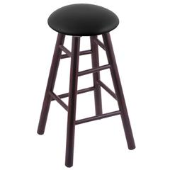 Maple Round Cushion Bar Stool with Smooth Legs, Dark Cherry Finish, Black Vinyl Seat, and 360 Swivel
