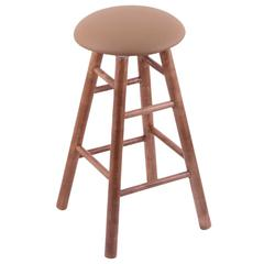 Maple Round Cushion Bar Stool with Smooth Legs, Medium Finish, Allante Beechwood Seat, and 360 Swivel