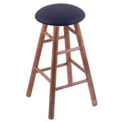Holland Bar Stool Co. Maple Round Cushion Bar Stool with Smooth Legs, Medium Finish, Allante Dark Blue Seat, and 360 Swivel