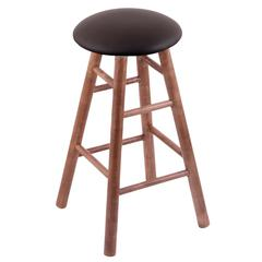 Maple Round Cushion Counter Stool with Smooth Legs, Medium Finish, Allante Espresso Seat, and 360 Swivel