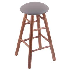 Maple Round Cushion Counter Stool with Smooth Legs, Medium Finish, Allante Medium Grey Seat, and 360 Swivel