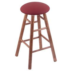 Maple Round Cushion Counter Stool with Smooth Legs, Medium Finish, Allante Wine Seat, and 360 Swivel