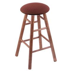 Maple Round Cushion Extra Tall Bar Stool with Smooth Legs, Medium Finish, Axis Paprika Seat, and 360 Swivel