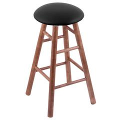 Maple Round Cushion Extra Tall Bar Stool with Smooth Legs, Medium Finish, Black Vinyl Seat, and 360 Swivel