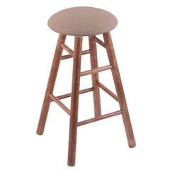 Maple Round Cushion Bar Stool with Smooth Legs, Medium Finish, Rein Thatch Seat, and 360 Swivel