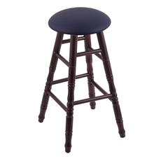 Holland Bar Stool Co. Maple Round Cushion Counter Stool with Turned Legs, Dark Cherry Finish, Allante Dark Blue Seat, and 360 Swivel