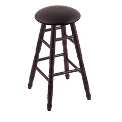 Maple Round Cushion Bar Stool with Turned Legs, Dark Cherry Finish, Allante Espresso Seat, and 360 Swivel