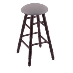 Maple Round Cushion Bar Stool with Turned Legs, Dark Cherry Finish, Allante Medium Grey Seat, and 360 Swivel