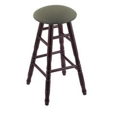 Holland Bar Stool Co. Maple Round Cushion Counter Stool with Turned Legs, Dark Cherry Finish, Axis Grove Seat, and 360 Swivel