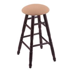 Maple Round Cushion Extra Tall Bar Stool with Turned Legs, Dark Cherry Finish, Axis Summer Seat, and 360 Swivel