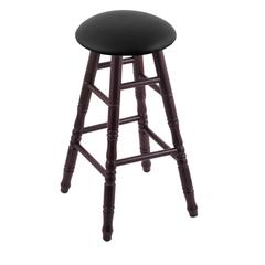 Holland Bar Stool Co. Maple Round Cushion Extra Tall Bar Stool with Turned Legs, Dark Cherry Finish, Black Vinyl Seat, and 360 Swivel