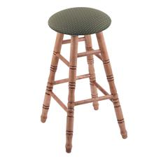 Holland Bar Stool Co. Maple Round Cushion Extra Tall Bar Stool with Turned Legs, Medium Finish, Axis Grove Seat, and 360 Swivel