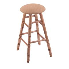 Maple Round Cushion Bar Stool with Turned Legs, Medium Finish, Axis Summer Seat, and 360 Swivel