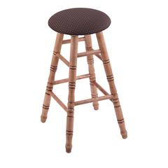Maple Round Cushion Extra Tall Bar Stool with Turned Legs, Medium Finish, Axis Truffle Seat, and 360 Swivel