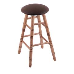 Holland Bar Stool Co. Maple Round Cushion Bar Stool with Turned Legs, Medium Finish, Rein Coffee Seat, and 360 Swivel