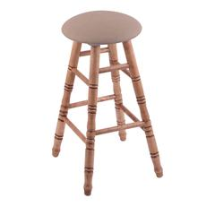 Maple Round Cushion Bar Stool with Turned Legs, Medium Finish, Rein Thatch Seat, and 360 Swivel
