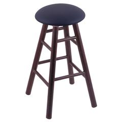 Oak Round Cushion Counter Stool with Smooth Legs, Dark Cherry Finish, Allante Dark Blue Seat, and 360 Swivel