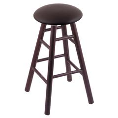 Holland Bar Stool Co. Oak Round Cushion Bar Stool with Smooth Legs, Dark Cherry Finish, Allante Espresso Seat, and 360 Swivel