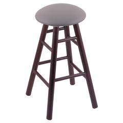 Oak Round Cushion Counter Stool with Smooth Legs, Dark Cherry Finish, Allante Medium Grey Seat, and 360 Swivel