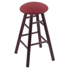 Holland Bar Stool Co. Oak Round Cushion Bar Stool with Smooth Legs, Dark Cherry Finish, Allante Wine Seat, and 360 Swivel
