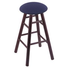 Oak Round Cushion Counter Stool with Smooth Legs, Dark Cherry Finish, Axis Denim Seat, and 360 Swivel