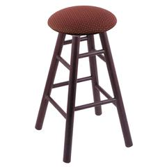 Oak Round Cushion Bar Stool with Smooth Legs, Dark Cherry Finish, Axis Paprika Seat, and 360 Swivel