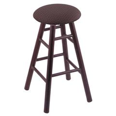 Oak Round Cushion Bar Stool with Smooth Legs, Dark Cherry Finish, Axis Truffle Seat, and 360 Swivel