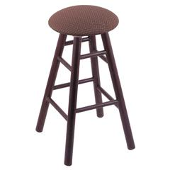 Holland Bar Stool Co. Oak Round Cushion Bar Stool with Smooth Legs, Dark Cherry Finish, Axis Willow Seat, and 360 Swivel