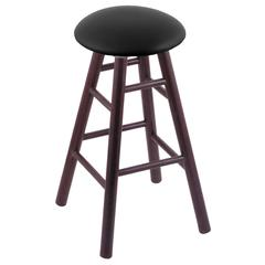 Holland Bar Stool Co. Oak Round Cushion Counter Stool with Smooth Legs, Dark Cherry Finish, Black Vinyl Seat, and 360 Swivel